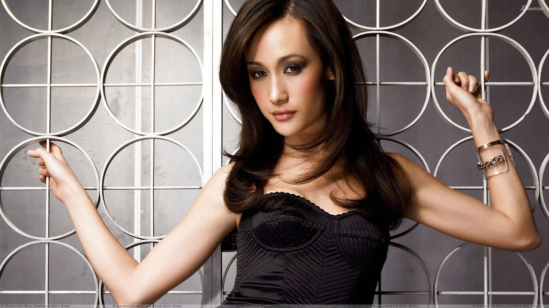 Maggie Q In Black Dress Cute Innocent Face Photoshoot